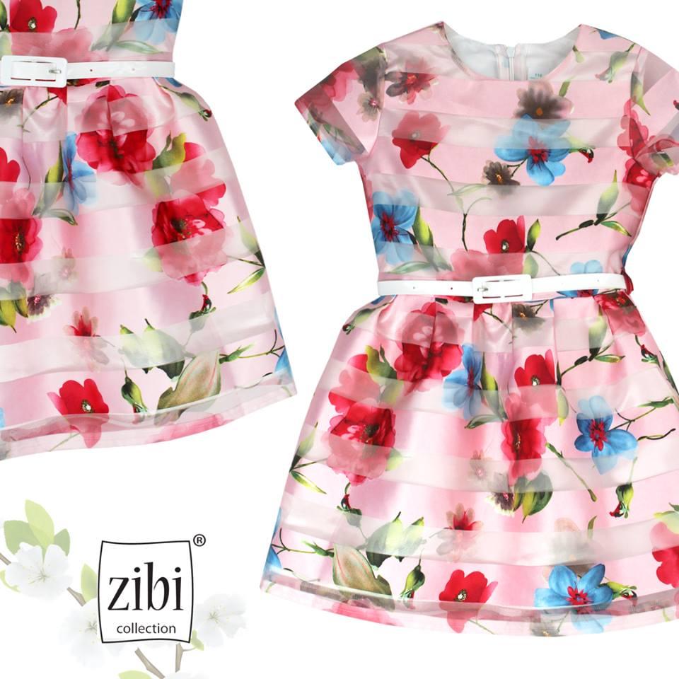 097d1cb8b7 Różowa rozkloszowana sukienka w kolorowe kwiaty